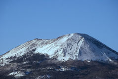 Volcano Vesuvius with snow. From view Sorrento peninsula, Italy stock images