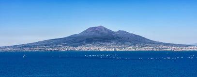 Landscape volcano Vesuvius, from Naples. Volcano Vesuvius from view Sorrento peninsula, Italy stock images