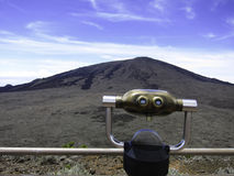 Volcano view on Reunion Island. Coin-operated binocular with volcano view on Reunion Island Royalty Free Stock Photo