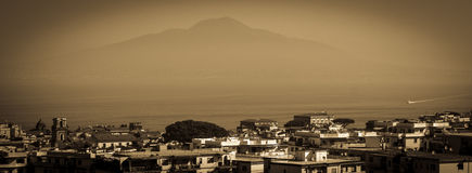 Volcano View from Sorrento Italy. The view of mount vesuvius from sorrento stock images