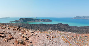 Volcano. A view of the surrounding islands of Santorini volcano nearby Stock Photo