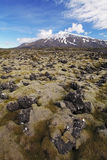 Volcano in West Iceland with lava field - Snaefellsjokull Stock Photography