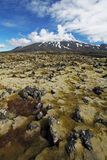 Volcano in West Iceland with lava field - Snaefellsjokull Royalty Free Stock Photos
