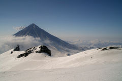 Volcano in winter Stock Photos