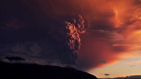 The volcano woke up and throws hot ashes