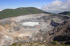 Volcanoe Crater on a Sunny Day. Poas Volcano Crater on a Sunny Day in Poas Volcano National Park in Costa Rica Stock Image