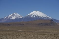 Volcanoes on the Altiplano. Volcanoes Parinacota and Pomerape in Lauca National Park high on the Altiplano of northern Chile Stock Image