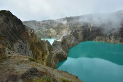 Volcanoes 9. Assignment files 2 colored lakes stock image
