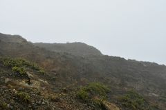 Volcanoes 4. Assignment files fog windy royalty free stock photo