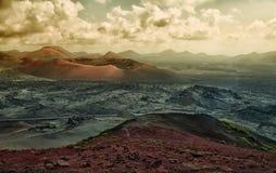 Volcanoes flyg- panorama, Lanzarote Arkivfoton