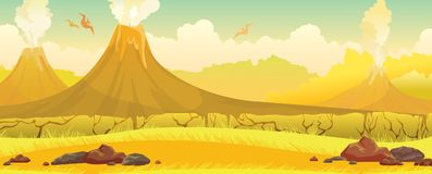 Volcanoes, grass, pterodactyls - prehistoric nature landscape. Royalty Free Stock Photo