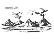 Volcanoes group landscape Stock Image