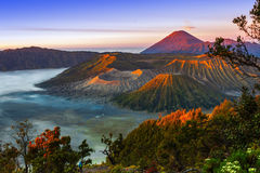 Volcanoes i den Bromo Tengger Semeru nationalparken på soluppgång java Arkivbilder