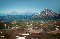 Volcanoes of Kamchatka on the palm of your hand. From Gorely volcano you can see the volcanoes of Kamchatka royalty free stock photos