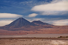Volcanoes Licancabur and Juriques, Atacama desert Stock Photos