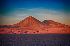 Volcanoes Licancabur and Juriques, Chile. Sunset over volcanoes Licancabur and Juriques, Atacama desert, Chile Royalty Free Stock Photography