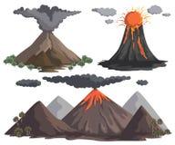 Volcanoes med magma, lava och rök Berglandskap nderteckenspegel av Venus Royaltyfri Bild