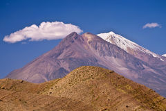 Volcanoes near Areqiupa. Volcanic mountainous desert scenery, part of the Andes near Arequipa in Southern Peru stock image