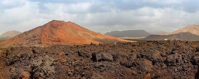 Volcanoes panorama, Lanzarote, Spain royalty free stock photo