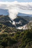 Volcanoes in thermal valley in Rotorua Royalty Free Stock Image