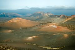 Volcanoes in Timanfaya National. Park, Lanzarote, Canary Islands Stock Photos