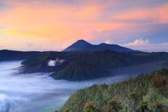 Volcanoes w Bromo Tengger Semeru parku narodowym Zdjęcia Stock