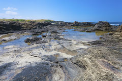 Volcanogenic rock slab on the seashore Stock Photo