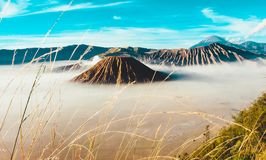 Volcanos Mount Semeru and Bromo in East Java. Indonesia, Southeast Asia stock photography