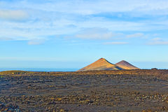 Volcanos in Timanfaya National Park in Lanzarote, Spain Royalty Free Stock Photography