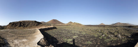 Volcanos in Timanfaya national park near Mancha Blanca Stock Photography