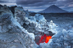 Volcanos Tolbachik and Udina Royalty Free Stock Images