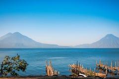 Volcanoesview at lake Atitlan Royalty Free Stock Photos