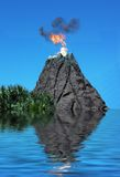 VolcanoSink. Volcano erupting with clouds of smoke and fire, sinking into the sea Stock Image