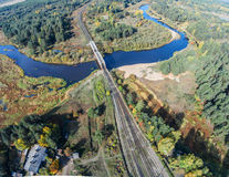 Volchin river and railway bridge. Aerial view of river Volchin and the railroad bridge Royalty Free Stock Image