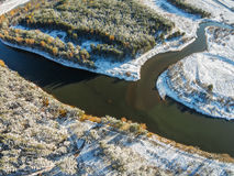 Volchina river flows into the river Mologa. Winter. Shooting with the bird`s eye view of Maksatikhinskiy district of Tver region Royalty Free Stock Photography