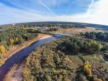 Volchina river and railway bridge. Aerial view of river Volchina and the railroad bridge Stock Photo