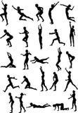 Voleibol atractivo Silouettes Imagen de archivo libre de regalías