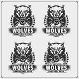 Voleibol, béisbol, fútbol y logotipos y etiquetas del fútbol Emblemas del club de deporte con el lobo ilustración del vector