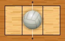 Voleibol blanco en el ejemplo de la corte de la madera dura Foto de archivo libre de regalías