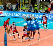 Voleibol: Bloque italiano Foto de archivo libre de regalías