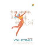 Voleibol da praia Ostente o jogo Jovem mulher engraçada com bola Fotografia de Stock