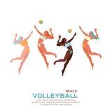 Voleibol de la playa Diviértase el juego Mujer joven divertida con la bola Foto de archivo libre de regalías