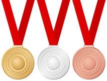 Voleibol de las medallas Imágenes de archivo libres de regalías