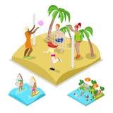 Voleibol de playa al aire libre isométrico, practicando surf y water polo Forma de vida y reconstrucción sanas Foto de archivo