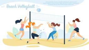 Voleibol de praia, competição das equipes dos desportistas, ilustração royalty free