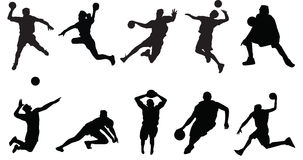 Voleibol del baloncesto de la silueta de los deportes ilustración del vector