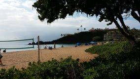 Voleibol na praia em Maui foto de stock royalty free