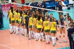 Voleibol WGP: El Brasil CONTRA los E.E.U.U. Fotografía de archivo