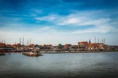 volendam全景, netherland村庄,渔村 免版税图库摄影