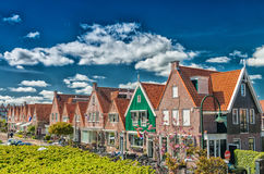 Volendam, Netherlands. Classic homes aligned along city street Royalty Free Stock Photos